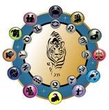 Rueda linda del zodiaco con el tigre ilustración del vector