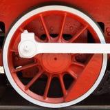 Rueda locomotora roja fotografía de archivo