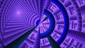 Rueda mecánica del fractal adornada con diversas formas geométricas ornamentales, todas en púrpura brillante y el azul Imagen de archivo