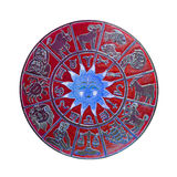 Rueda roja del horóscopo Foto de archivo libre de regalías