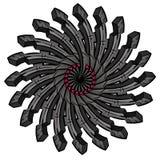 Rueda simétrica industrial abstracta Foto de archivo libre de regalías