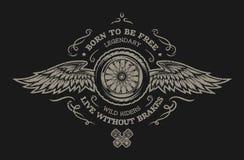 Rueda y alas Para el fondo oscuro Fotografía de archivo