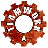 Rueda y estrella de acero del engranaje del texto del trabajo en equipo stock de ilustración