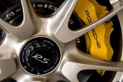 Rueda y frenos de Porsche Imágenes de archivo libres de regalías
