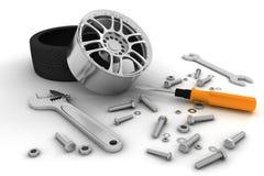 Rueda y herramientas. Servicio del coche Foto de archivo