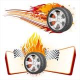 rueda y llama ilustración del vector