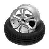 Rueda y neumático para un coche Fotografía de archivo libre de regalías