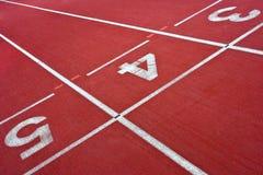 Ruedas de ardilla en el estadio para el atletismo Foto de archivo