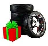 Ruedas de coche con la caja de regalo roja grande ilustración del vector