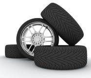 Ruedas de coche Jeringuilla del concepto design Imágenes de archivo libres de regalías