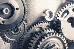 Ruedas de engranaje del motor, fondo industrial foto de archivo libre de regalías