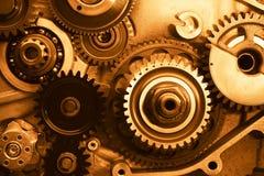 Ruedas de engranajes del motor imágenes de archivo libres de regalías