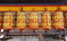 Ruedas de rezo budistas imagen de archivo