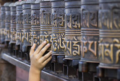 Ruedas de rezo en Swayambhunath Imagen de archivo