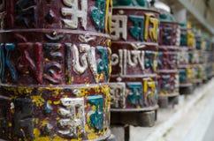 Ruedas de rezo tibetanas Imágenes de archivo libres de regalías