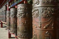 Ruedas de rezo tibetanas del metal Fotos de archivo