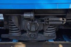 Ruedas de un coche de ferrocarril Fotografía de archivo libre de regalías
