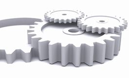ruedas dentadas 3D en blanco stock de ilustración