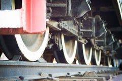 Ruedas locomotoras viejas Foto de archivo libre de regalías