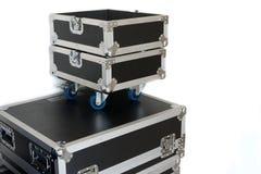 Ruedas negras de los cajones de la caja 4 del cajón del estante de la tienda de la música del estuche rígido para la seguridad, t fotografía de archivo libre de regalías