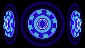 Ruedas que brillan intensamente azules, ejemplo 3d Foto de archivo