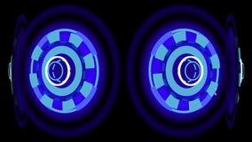 Ruedas que brillan intensamente azules, ejemplo 3d Fotografía de archivo