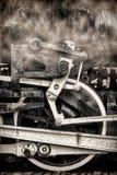 Ruedas y humo viejos de la vendimia de la locomotora de vapor Imagen de archivo libre de regalías