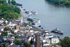 Ruedesheim and Rhine Stock Photo