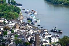 Ruedesheim and Rhine Stock Photo