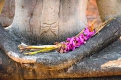 Ruegue en la estatua vieja de Buda Imagen de archivo libre de regalías