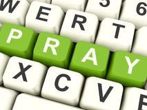 Ruegue las llaves de ordenador que muestran la adoración y la religión Imágenes de archivo libres de regalías