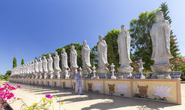 Ruegue para la paz en un templo budista Dai Tong Lam Fotografía de archivo libre de regalías