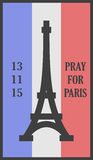Ruegue para la tarjeta de las palabras de París stock de ilustración