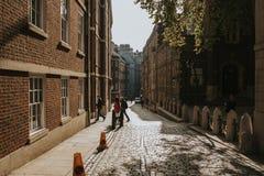 Ruelle étroite classique à Londres, avec les appartements génériques architecture et pavé rond sur le trottoir photographie stock libre de droits
