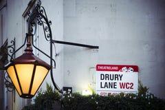 Ruelle de Drury dans la terre de théâtre de Londres avec la pièce pour le texte Photos stock