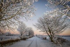 Ruelle de pays d'hiver Photos libres de droits