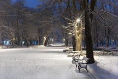 Ruelle en stationnement de l'hiver photographie stock libre de droits