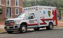 Ruems在街道的救护车停车处 免版税图库摄影