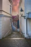 Rues étroites dans la vieille ville de Bergen Images stock