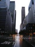 Rues abandonnées de New York pendant l'ouragan Irene Image libre de droits