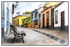 Rues colorées traditionnelles de Los Llanos de Aridane photo libre de droits