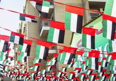 Rues décorées avec des drapeaux au Jour de la Déclaration d'Indépendance Image stock