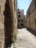 Rues dans la vieille ville de la photo une de Rhodes Photographie stock libre de droits