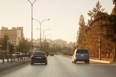 Rues dans le début de la matinée à Amman, Jordanie Photos libres de droits