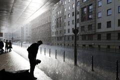 Rues de Berlin dans un jour pluvieux Photo stock