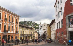 Rues de central de Quito, Equateur Photos stock