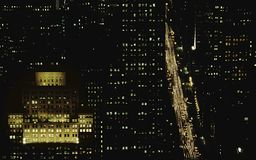 Rues de New York par nuit Photos stock