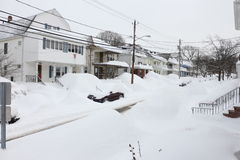 Rues 2015 de tempête de neige de Boston Images stock