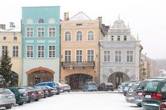 Place de ville de Gniew dans le paysage d'hiver Photo libre de droits