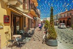 Rues de ville de Pula décorées des drapeaux Photographie stock